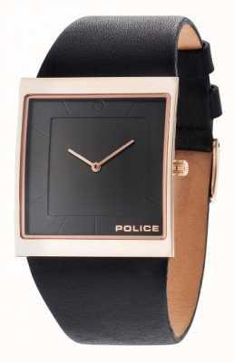 Police Mens Skyline Black Leather Strap Black Dial 14694MSR/02
