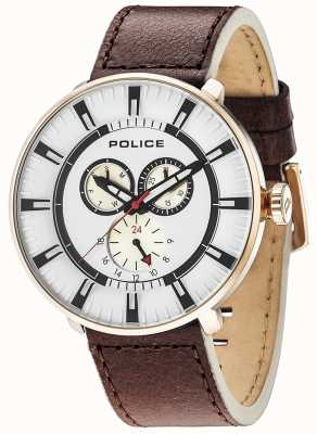Police Mens League Multi-function Date Brown Leather 15040XCYR/01