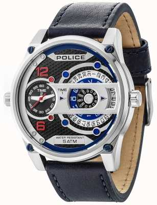 Police Mens D-Jay Date Display Black Dial Leather Strap 14835JS/02