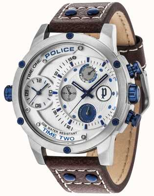 Police Mens Adder Multi-function Date Silver Dial Leather Strap 14536JS/04