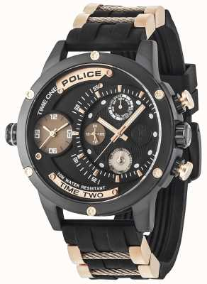 Police Mens Adder Multi-function Date Black Dial Rubber Strap 14536JSB/02PA