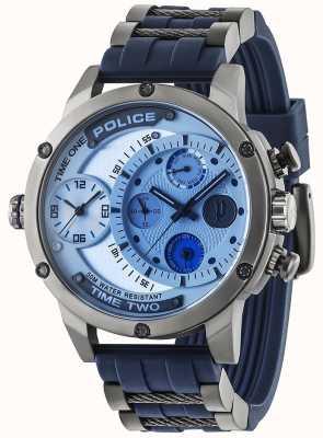Police Mens Adder Multi-function Date Silver Dial Rubber Strap 14536JSU/04P