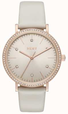 DKNY Womans Minetta Rose Gold Grey Leather NY2609