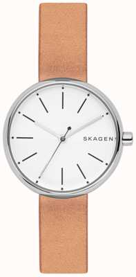 Skagen Womans Signatur Light Brown Leather White Dial SKW2594