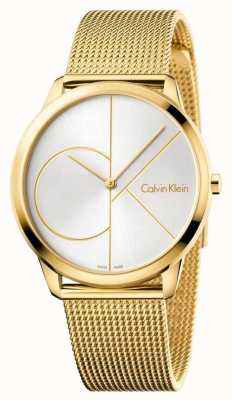 Calvin Klein Mens Minimal Watch | Gold Mesh Stainless Steel Strap | K3M21526