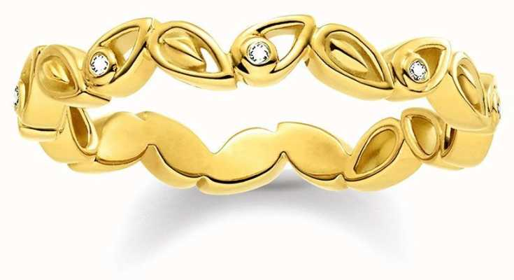 Thomas Sabo Womans Gold Diamond Leaf Ring D_TR0024-924-39-54