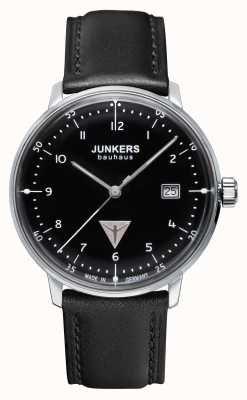 Junkers Mens Bauhaus Black Leather Strap Black Dial 6046-2
