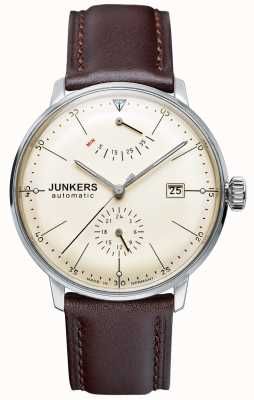 Junkers Mens Bauhaus Automatic Brown Leather Strap Beige Dial 6060-5