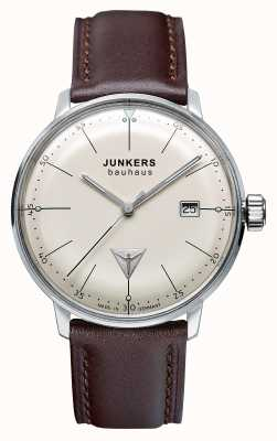 Junkers Mens Bauhaus Brown Leather Strap Beige Dial 6070-5