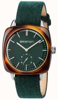 cb033c801f Briston Mens Clubmaster Vintage Green Fabric Strap Green Dial 17440.SA.TV.16