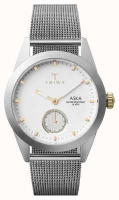 Triwa Mens Snow Aska Silver Mesh Super-Slim AKST102-MS121212