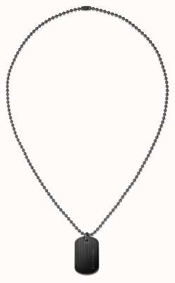 Tommy Hilfiger Mens Black Ion Plated Dog Tag Necklace 2700688
