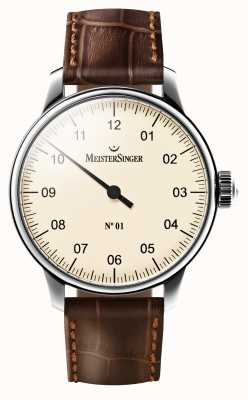 MeisterSinger Mens No 01 Mechanical Brown Leather Strap Cream Dial AM3303
