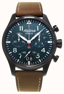 Alpina Startimer Pilot Brown Leather/Black PVD Case AL-372N4FBS6