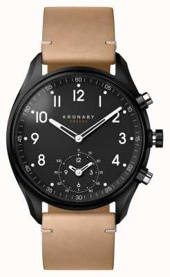 Kronaby 43mm APEX Bluetooth Black PVD Case/Beige Leather Smartwatch A1000-0730
