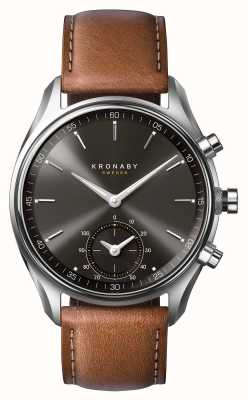 Kronaby 43mm SEKEL Bluetooth Brown Leather Black Dial Smartwatch A1000-0719