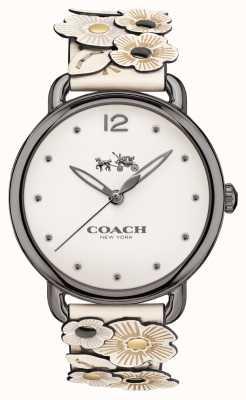 Coach Womans Delancey Watch White Flower Leather Strap 14502746