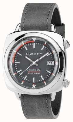 Briston Unisex Clubmaster Diver Brushed Steel Leather Auto Grey 17642.PS.D.17.LVB