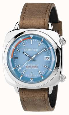 Briston Unisex Clubmaster Diver Brushed Steel Leather Auto Blue 17642.PS.D.18.LVBR