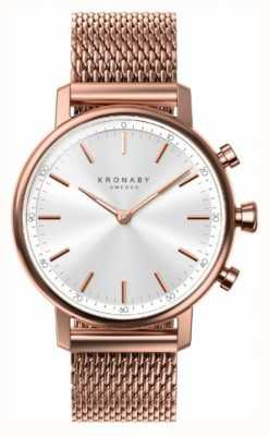 Kronaby 38mm CARAT Bluetooth Rose Gold Plated Mesh Smartwatch A1000-1400