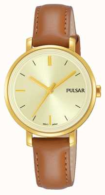 Pulsar Womans Tan Leather Strap Champagne Dial PH8364X1