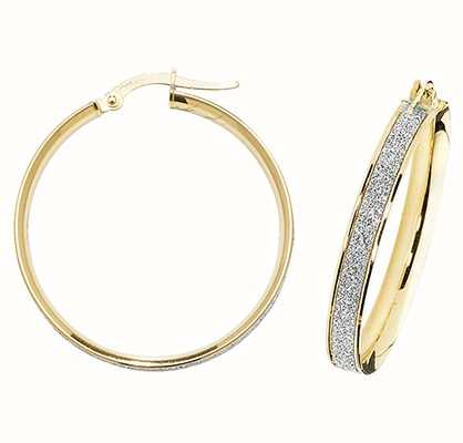 Treasure House 9k Yellow Gold Diamond Cut Hoop Earrings ER1023-25