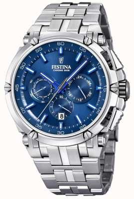 Festina Mens Chronobike 2017 Stainless Steel Blue Chronograph F20327/3