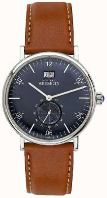 Michel Herbelin Mens Inspiration 1947 Brown Leather Strap Blue Dial 18247/15GO