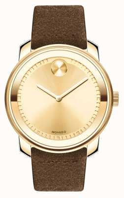 Movado Mens Bold Gold With Leather Strap 3600449