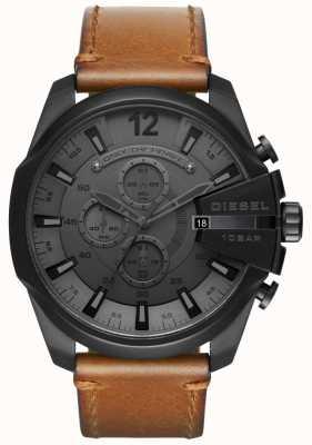Diesel Mens Mega Chief Watch Black Dial Brown Leather Strap DZ4463