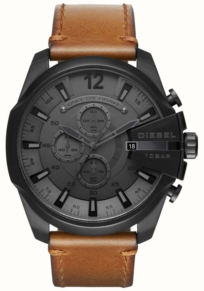 1a72e9cf7 Diesel Mens Mega Chief Watch Black Dial Brown Leather Strap DZ4463 ...