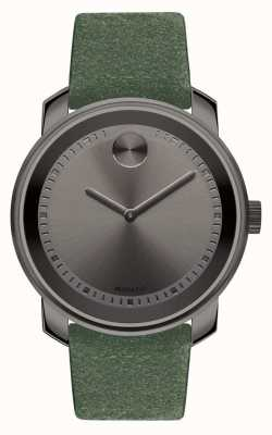 Movado Unisex Large Bold Grey Ion Plated Green Suede 3600448