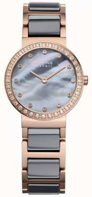 Bering Womans High Tech Ceramic Rose Gold Plated Steel 10725-769