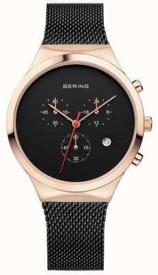 Bering Mens Classic Black Chronograph Black Milanese Strap 14736-166
