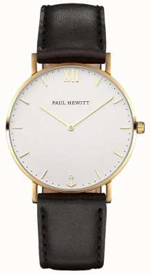 Paul Hewitt Unisex Sailor Black Leather Strap PH-SA-G-SM-W-2M