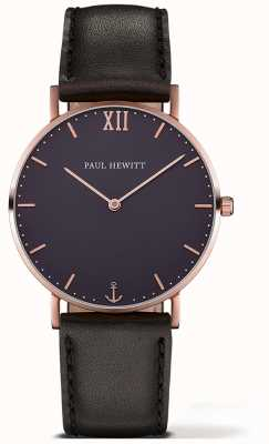 Paul Hewitt Unisex Sailor Black Leather Strap PH-SA-R-ST-B-2M
