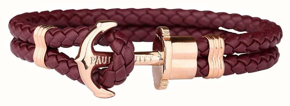 Paul Hewitt Jewellery Phrep Rose Gold Anchor Berry Leather Bracelet Large PH-PH-L-R-DB-L