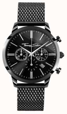 Thomas Sabo Mens Black Stainless Steel Chrono Watch WA0291-287-203-42
