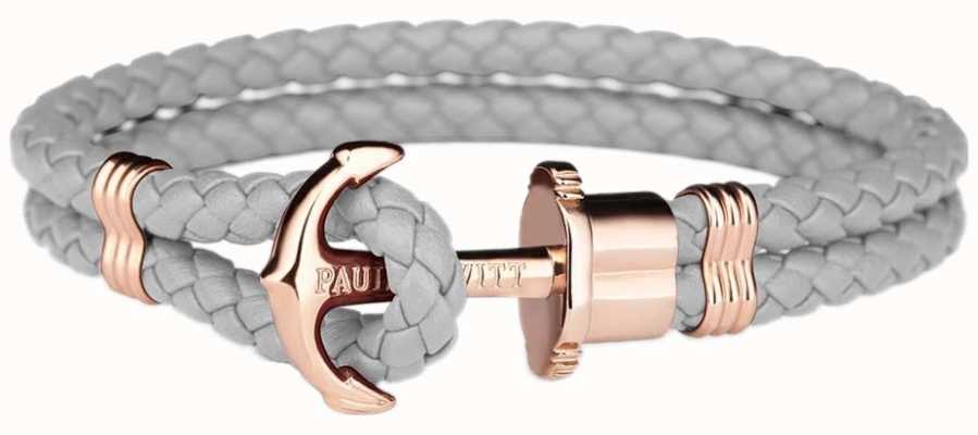 Paul Hewitt Jewellery Phrep Rose Gold Anchor Grey Leather Bracelet Large PH-PH-L-R-GR-L