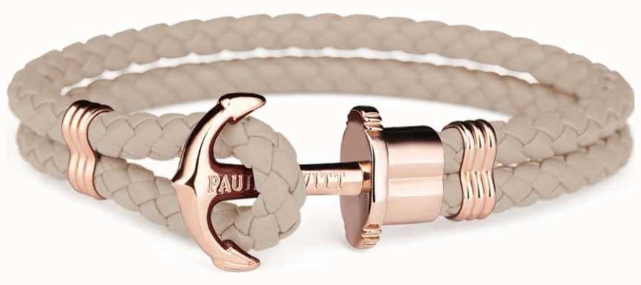 Paul Hewitt Jewellery Phrep Rose Gold Anchor Hazlenut Leather Bracelet Large PH-PH-L-R-H-L
