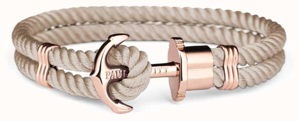 Paul Hewitt Jewellery Phrep Rose Gold Anchpr Hazlenut Nylon Bracelet Medium PH-PH-N-R-H-M