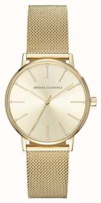 Armani Exchange Womans Gold Plated Mesh Bracelet Watch AX5536