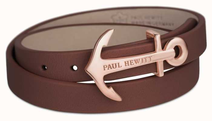 Paul Hewitt Jewellery Northbound Rose Gold Anchor Brown Leather Bracelet PH-WB-R-1M
