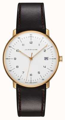 Junghans Max Bill Quartz | Brown Leather Strap | Gold Plated Case 041/7872.04