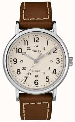 Timex Men's Weekender Brown Leather Strap White Dial TW2R42400