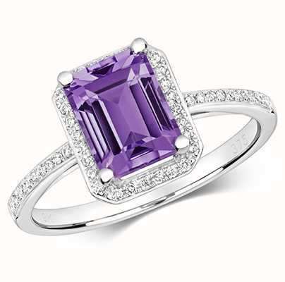 Treasure House 9k White Gold Diamond Amethyst Ring RD428WAM