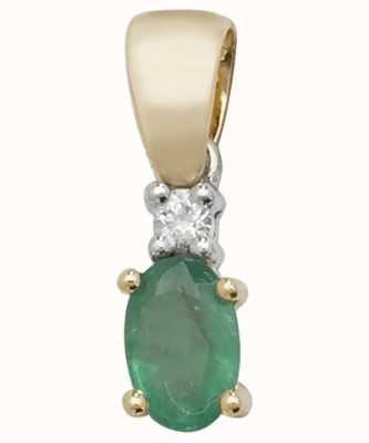 Treasure House 9k Yellow Gold Oval Emerald Diamond Pendant PD240E