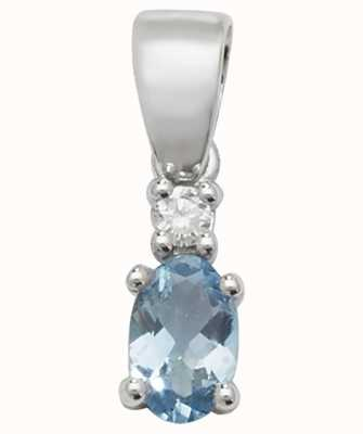 Treasure House 9k White Gold Oval Aquamarine Diamond Pendant PD240WAQ