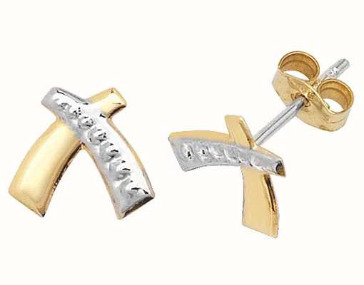 Treasure House 9k Yellow and White Gold Criss Cross Studs Earrings ES308