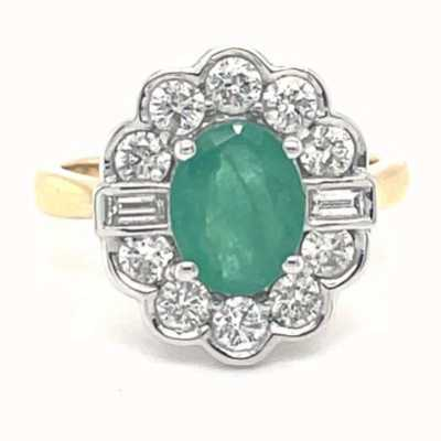 UJT LMT 18K Yellow Gold Emerald Diamond Ring R547D1-E/AZ18Y